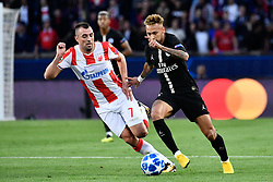 October 3, 2018 - Paris, Ile-de-France, France - Paris Saint-Germain's Brazilian forward Neymar (R) fights for the ball with Red Star Belgrade's defender Nenad Krstičić during the UEFA Champions' League football match Paris Saint Germain (PSG) against Red Star Belgrade at the Parc des Princes stadium in Paris on October 3, 2018. (Credit Image: © Julien Mattia/NurPhoto/ZUMA Press)