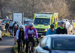 © Licensed to London News Pictures. 09/01/2021. London, UK. An ambulance drives through a busy Richmond Park in South West London as health experts call for the lockdown to be made tougher as Covid-19 cases continue to rise after Mayor of London, Sadiq Khan declared a .Major Incident' in London hospitals. This week, Prime Minister Boris Johnson plunged England into a 3rd lockdown as he ordered schools to close and workers to work from home as the government brings in the army to ramp up vaccinations across the country. Photo credit: Alex Lentati/LNP