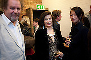 MIKE FIGGIS; BIANCA JAGGER; ROSEY CHAN, David Salle private view at the Maureen Paley Gallery. 21 Herlad St. London. E2. <br /> <br />  , -DO NOT ARCHIVE-© Copyright Photograph by Dafydd Jones. 248 Clapham Rd. London SW9 0PZ. Tel 0207 820 0771. www.dafjones.com.