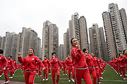 ZHENGZHOU, CHINA - NOVEMBER 07: <br /> <br /> Citizens perform square dance to make a Guinness World Record with dancers in other 13 cities on November 7, 2016 in Zhengzhou, China. 50,085 people in 14 cities performed the same square dances at the same time, and set the Guinness World Record for multiple-site large-scale dancing on Monday morning<br /> ©Exclusivepix Media