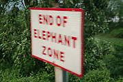 """A sign saying """"End of Elephant zone"""", in West Bengal.<br /> Outside the Dibrugarh-Kanyakumari Vivek Express, the longest train route in the Indian Subcontinent. It joins Kanyakumari, Tamil Nadu, which is the southernmost tip of mainland India to Dibrugarh in Assam province, near the border with Burma."""