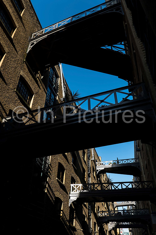 Shad Thames on the 20th September 2019 in London in the United Kingdom. Shad Thames is a historic riverside street next to Tower Bridge. In the 19th century, the area included the largest warehouse complex in London.