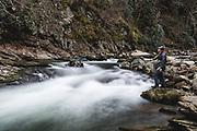 Fly fishing the Nantahala river.