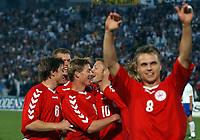 Fotball<br /> Kvalifisering til EM 2004<br /> 11.10.2003<br /> Bosnia v Danmark 1-1<br /> Norway Only<br /> Foto: Digitalsport<br /> <br /> Dansk jubel efter scoring af Martin Jørgensen til 1-0. Jesper Grønkjær i forgrunden