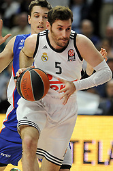 15.04.2015, Palacio de los Deportes stadium, Madrid, ESP, Euroleague Basketball, Real Madrid vs Anadolu Efes Istanbul, Playoffs, im Bild Real Madrid´s Rudy Fernandez // during the Turkish Airlines Euroleague Basketball 1st final match between Real Madrid vand Anadolu Efes Istanbul t the Palacio de los Deportes stadium in Madrid, Spain on 2015/04/15. EXPA Pictures © 2015, PhotoCredit: EXPA/ Alterphotos/ Luis Fernandez<br /> <br /> *****ATTENTION - OUT of ESP, SUI*****
