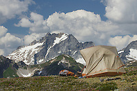 North Cascades backcountry camp, Dome Peak in the distance, Glacier Peak Wilderness Washington