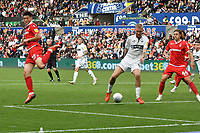 Football - 2018 / 2019 Sky Bet EFL Championship - Swansea City vs. Nottingham Forest<br /> <br /> Joe Lolley of Nottingham Forest shoots at goal with a back flick , at Liberty Stadium.<br /> <br /> COLORSPORT/WINSTON BYNORTH