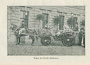 Wedding carriage covered in roses photographed in 1887 appeared in Rosen-Zeitung, Organ des Vereins Deutscher Rosenfreunde, 1887 [Periodical of the German Rose Society (Vereins Deutscher Rosenfreunde)] by C. P. Strassheim