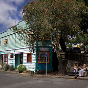 A street scene in Rawene . Rawene is a town on the south side of the Hokianga harbour, in Northland,  A car ferry links it to Kohukohu and the northern Hokianga. Rawene started as a timber centre, with a mill and shipyards established in the early 19th century. Rawene, Northland, New Zealand. 22nd November 2011.  Photo Tim Clayton..