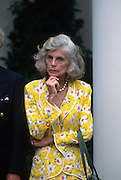 Eunice Kennedy Shriver celebrates the 35th anniversary of the Peace Corp at a event in the Rose Garden of the White House June 19, 1997 in Washington, DC.