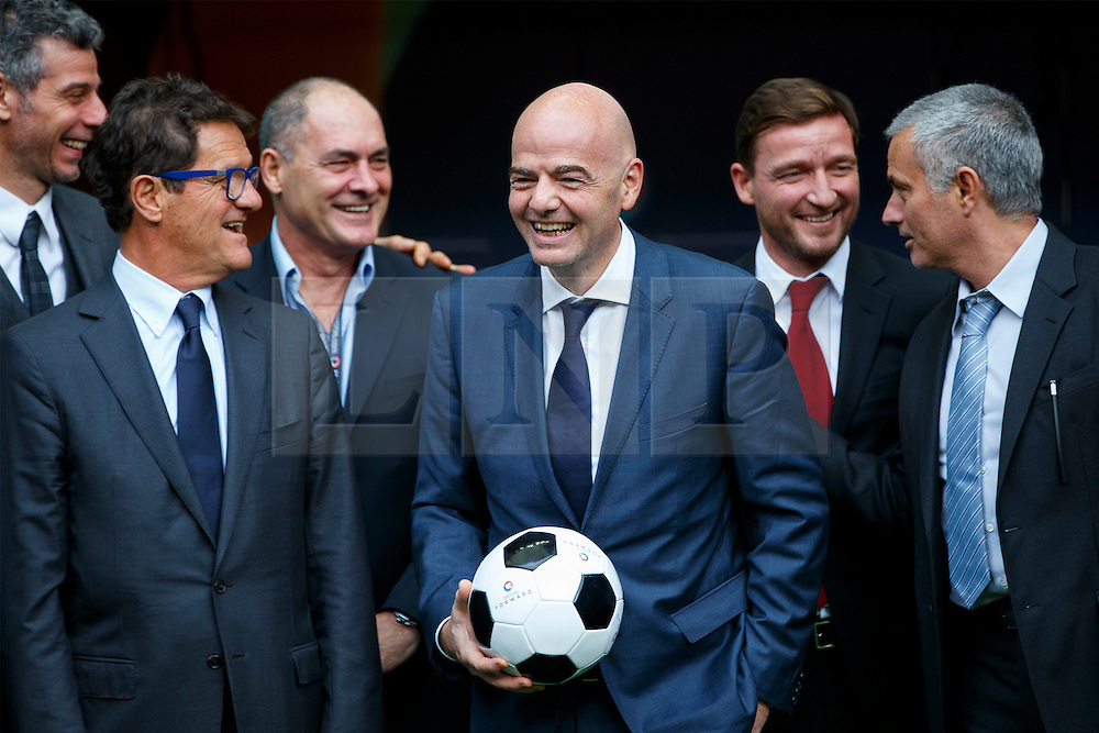 © Licensed to London News Pictures. 01/02/2016. London, UK. Former England manager Fabio Capello, FIFA Presidential Candidate Gianni Infantino and former Chelsea manager Jose Mourinho attend FIFA Presidential Candidate Gianni Infantino's campaign launch at Wembley Stadium in London on Monday 1 February 2016. Photo credit: Tolga Akmen/LNP