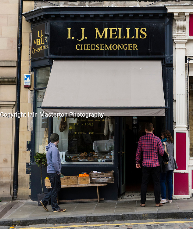 I.J. Mellis cheesemonger shop in Stockbridge, in Edinburgh, Scotland, UK