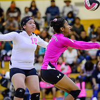 Navajo Prep Eagle Diamond Jones (2) bumps the ball over to the Tohatchi Cougars Thursday at Tohatchi High School.
