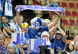 07.09.2014, Spodek, Katowice, POL, FIVB WM, Tunesien vs Finnland, Gruppe B, im Bild KIBICE FINLANDIA // during the FIVB Volleyball Men's World Championships Pool B Match beween Tunisia and Finland at the Spodek in Katowice, Poland on 2014/09/07.<br /> <br /> ***NETHERLANDS ONLY***