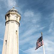 The lighthouse on Alcatraz Island in San Francisco Bay, California.