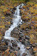 Waterfall along the Dempster Highway in the Tombstone Range (Ogilvie Mountains)<br /> Dempster Highway<br /> Yukon<br /> Canada