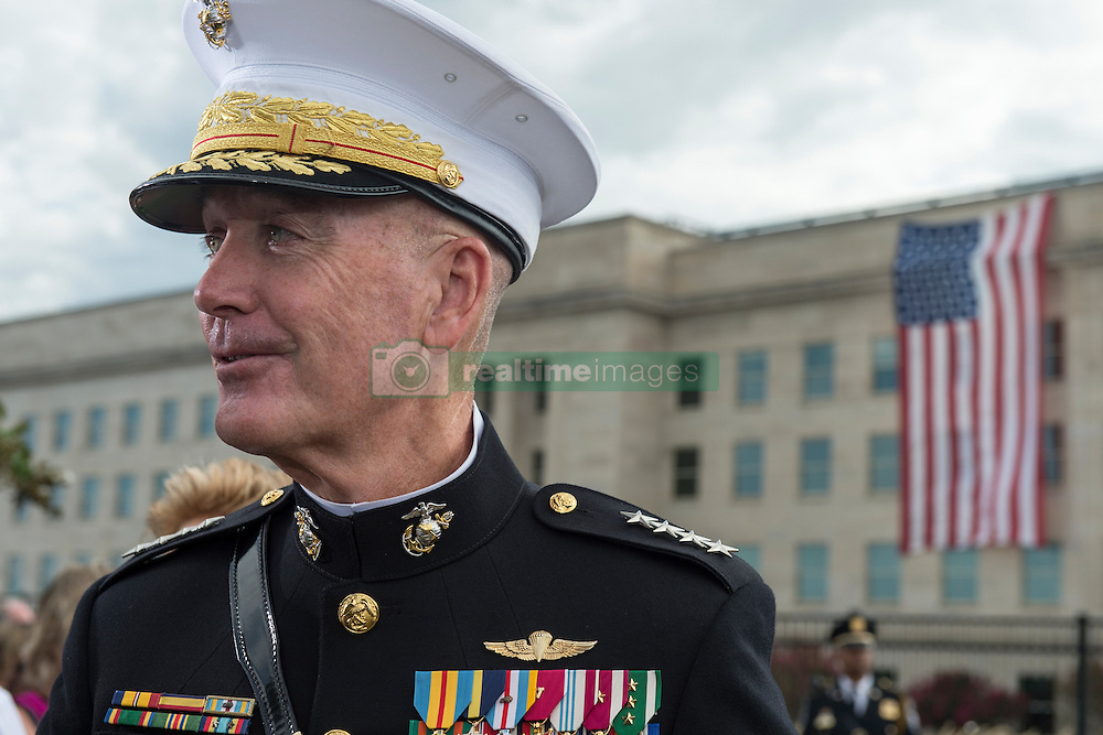 September 11, 2016 - Arlington, VA, United States of America - Joint Chiefs Chairman Gen. Joseph F. Dunford Jr. at a remembrance ceremony commemorating the 15th anniversary of the 9/11 terrorist attacks at the Pentagon September 11, 2016 in Arlington, Virginia. (Credit Image: © Tsgt. Brigitte N. Brantley/Planet Pix via ZUMA Wire)
