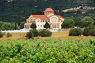 Vineyards & new Orthodox church of Omala. Kefalonia, Ionian Islands, Greece. .<br /> <br /> Visit our GREEK HISTORIC PLACES PHOTO COLLECTIONS for more photos to download or buy as wall art prints https://funkystock.photoshelter.com/gallery-collection/Pictures-Images-of-Greece-Photos-of-Greek-Historic-Landmark-Sites/C0000w6e8OkknEb8