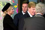 Nationale Herdenking voor de slachtoffers van vlucht MH17 in de RAI , Amsterdam.Vertrek van de gasten na afloop van de bijeenkomst<br /> <br /> National Memorial for the victims of flight MH17 in the RAI, Amsterdam.VThe guests leave after the meeting<br /> <br /> Op de foto / On the photo: <br /> Koning Willem-Alexander, koningin Maxima, burgemeester Ebenhard van der Laan en minister-president Mark Rutte <br /> <br /> King Willem-Alexander, Queen Maxima, Mayor Eberhard van der Laan and Prime Minister Mark Rutte