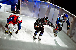 04-02-2012 SKATING: RED BULL CRASHED ICE WORLD CHAMPIONSHIP: VALKENBURG<br /> (L-R) Kilian Braun SUI, Kyle Croxall CAN (winner of the tournament), Michal Prochazka CZE<br /> ©2012-FotoHoogendoorn.nl / Peter Schalk
