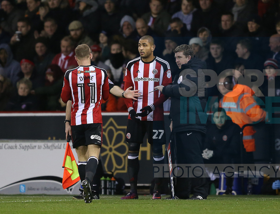 Leon Clarke of Sheffield Utd replaces Matt Done of Sheffield Utd during the English League One match at Bramall Lane Stadium, Sheffield. Picture date: December 26th, 2016. Pic Simon Bellis/Sportimage