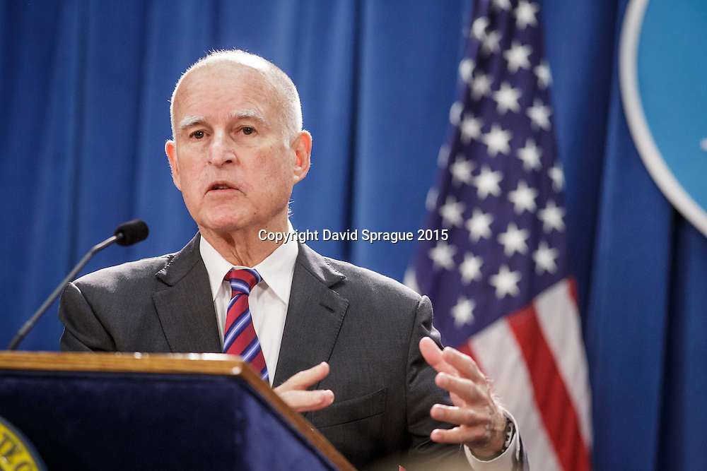 California Governor Jerry Brown holds a press conference in the the state capitol in Sacramento, CA. Jan. , 2016. Photo by David Sprague