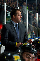 KELOWNA, BC - FEBRUARY 8: Portland Winterhawks' Associate Coach and Asst. GM, Kyle Gustafson, stands on the bench during second period at the Kelowna Rockets at Prospera Place on February 8, 2020 in Kelowna, Canada. (Photo by Marissa Baecker/Shoot the Breeze)