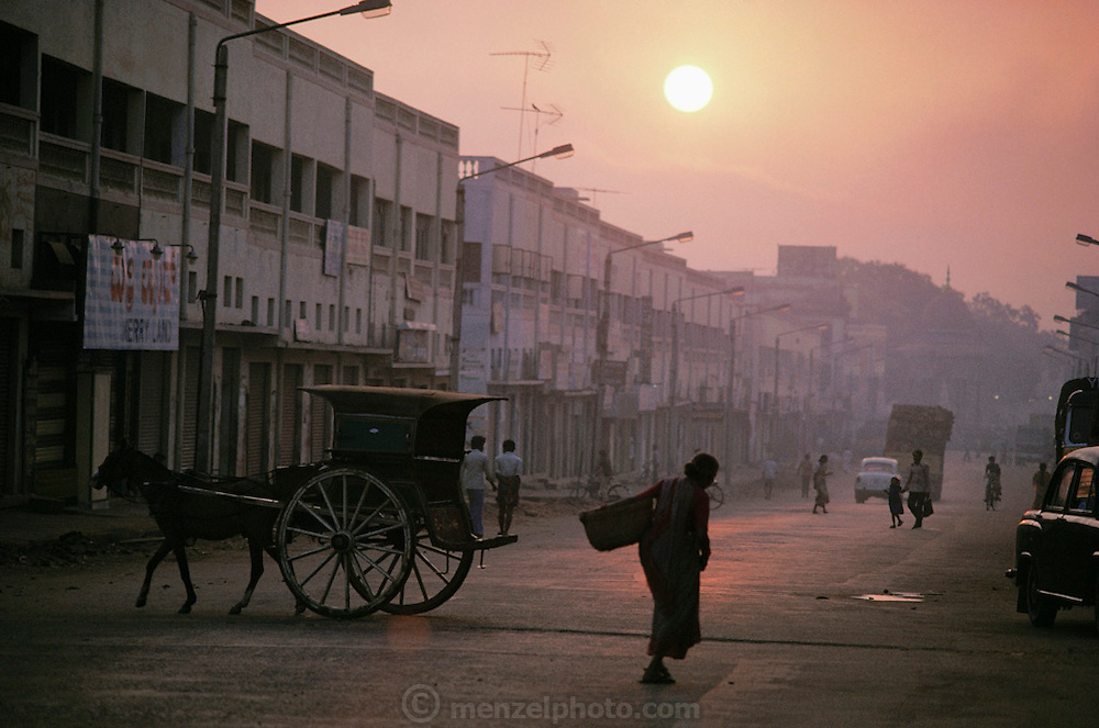 Street scene at dawn in Mysore, South India.