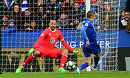 Jamie Vardy of Leicester city  takes a shot at goal but sees goalkeeper Heurelho Gomes of Watford save. Premier league match, Leicester City v Watford at the King Power Stadium in Leicester, Leicestershire on Saturday 6th May 2017.<br /> pic by Bradley Collyer, Andrew Orchard sports photography.