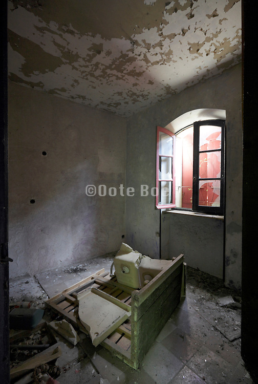 kitchen room in destroyed and abandoned house