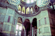 Interior of Hagia Sofia mosque church museum, Istanbul, Turkey in 1997