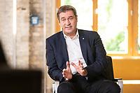 "28 AUG 2021, BERLIN/GERMANY:<br /> Markus Soeder, CDU, Ministerpraesident Bayern, ""Duell der Herzen"",  TV Duell mit R obert H abeck, von Der Spiegel, Vice, T-Online, Vice Media Redaktion<br /> IMAGE: 20210828-01-066<br /> KEYWORDS: Markus Söder, Wahlkampf, Bundestagswahl 2021"