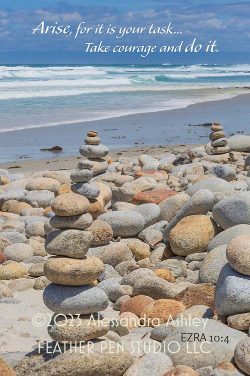 Cobblestone rock stacks, Spanish Bay, California coast.