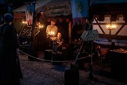 THEMENBILD - verkleidete Teilnehmer in mittelalterlichem Gewand im Zeltlager bei Kerzenschein während des Kapruner Burgfestes. Seit über zwei Jahrzehnten verwandeln beim zweitägigen Burgfest einige hundert Aktive das Areal rund um die Burg Kaprun zu einer erlebbaren Zeitreise ins Mittelalter, aufgenommen am 22. Juli 2017 in Kaprun, Österreich // Participants dressed in medieval garb in the camp by candlelight during the Kaprun Castle Festival. For more than two decades, a few hundred active People have turned the area around Kaprun Castle into an eventful time journey into the Middle Ages, Kaprun, Austria on 2017/07/22. EXPA Pictures © 2017, PhotoCredit: EXPA/ JFK
