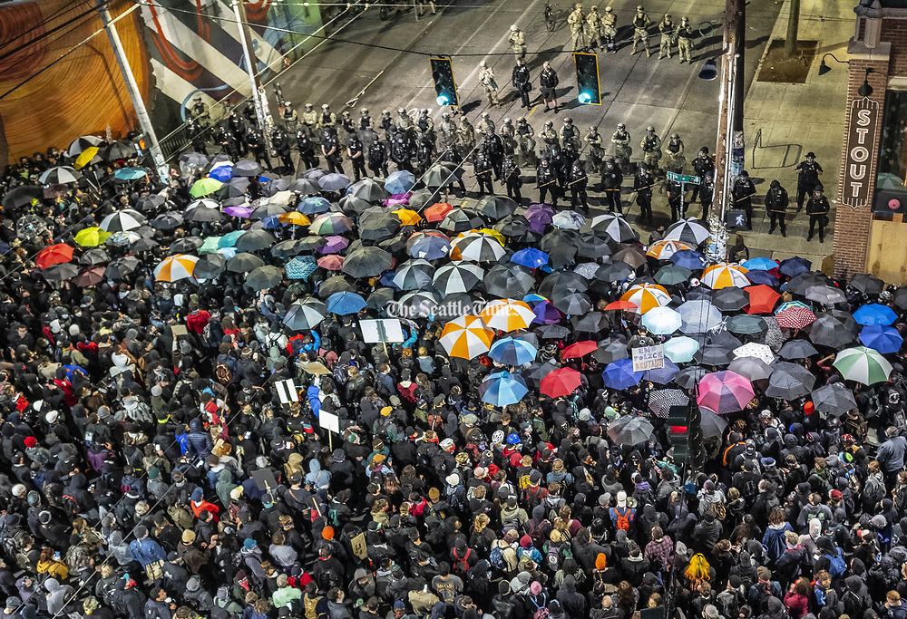 Thousands of people gathered outside the East Precinct on Seattle's Capitol Hill [June 2, 2020]. Demonstrations and protest over police violence and conduct have spanned days. Demonstrators got an audience with Mayor Jenny Durkan and Police Chief Carmen Best. (Dean Rutz / The Seattle Times)