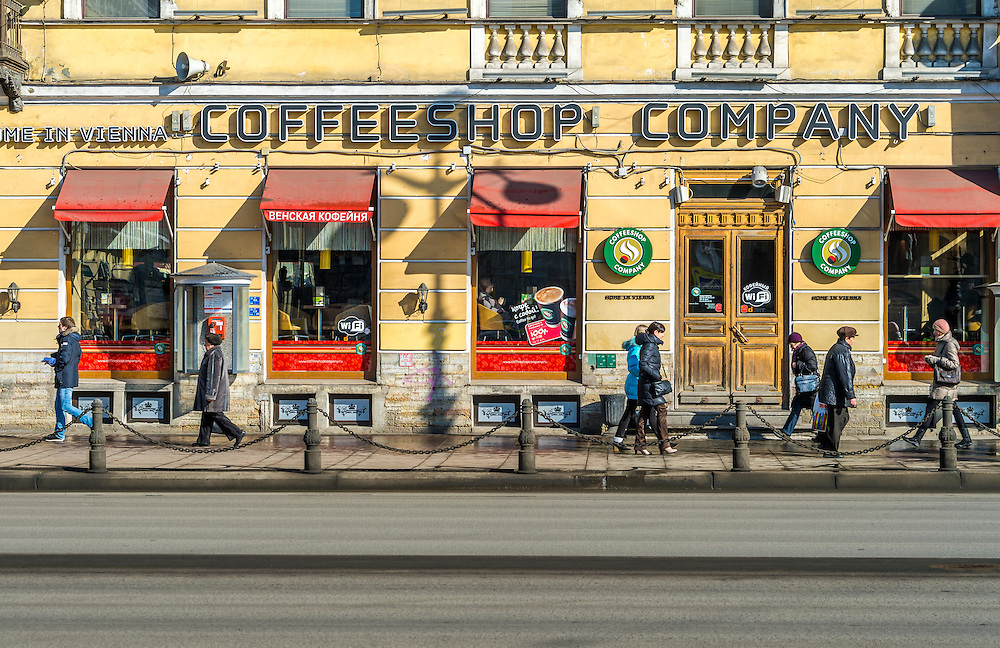 ST. PETERSBURG - CIRCA MARCH 2013: Popular coffee shop in Nevsky Prospect Ave. in St. Petersburg, circa March 2013. This is a tourist attraction with 221 museums, 2000 libraries, and 80  plus theaters within the city.