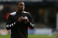 Donervon Daniels of Wigan Athletic warms up before the EFL Cup match between Oldham Athletic and Wigan Athletic at Boundary Park, Oldham, England on 9 August 2016. Photo by Simon Brady.