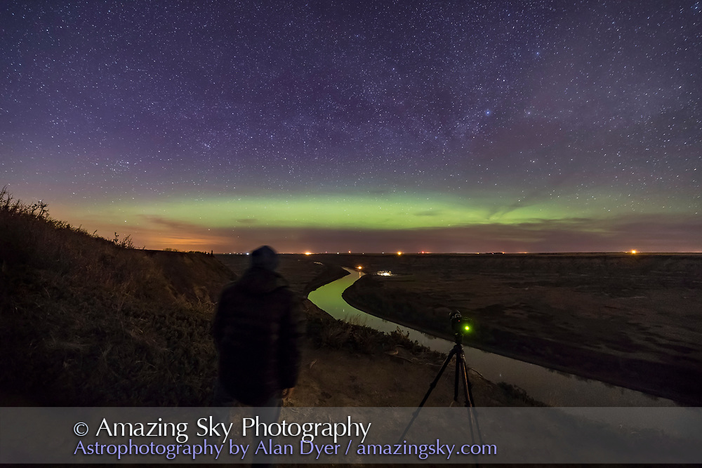 Me, shooting and watching the Northern Lights on May 5, 2018 at a viewpoint overlooking the Red Deer River north of Drumheller, Alberta. <br /> <br /> This is a single 30-second exposure at f/2.5 with the Rokinon 14mm SP lens and Canon 6D MkII at ISO 3200.