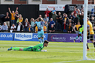 Joe Day, the Newport county goalkeeper is left grounded as Craig Mackail-Smith of Wycombe Wanderers reacts after missing a chance to score. EFL Skybet football league two match, Newport county v Wycombe Wanderers at Rodney Parade in Newport, South Wales on Saturday 9th September 2017.<br /> pic by Andrew Orchard, Andrew Orchard sports photography.