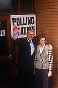 British Prime Minister, John Major and wife Norma stand outside his constituency polling station while seeking re-election after replacing Margaret Thatcher, on 9th April 1992, Huntingdon, England. Major went on to win the election and was the fourth consecutive victory for the Conservative Party although it was its last outright win until 2015 after Labours 1997 win for Tony Blair.