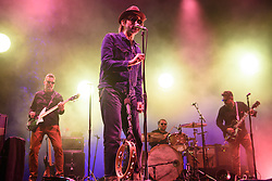 Eels (lead singer Mark Oliver Everett, centre) performing at Brixton Academy in south London. PRESS ASSOCIATION Photo. Picture date: Monday July 2nd, 2018