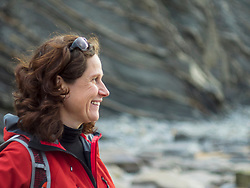 Close-up of smiling woman at the cliff of barrika