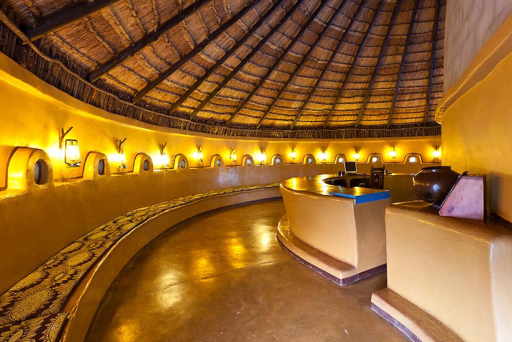 Campground and Game Lodge lobby near Gweta, Botswana.