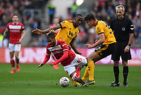 Football - 2018 / 2019 Emirates FA Cup - Fifth Round: Bristol City vs. Wolverhampton Wanderers<br /> <br /> Bristol City's Kasey Palmer is fouled by Wolverhampton Wanderers' Willy Boly (left) and Leander Dendoncker, at Ashton Gate.<br /> <br /> COLORSPORT/ASHLEY WESTERN