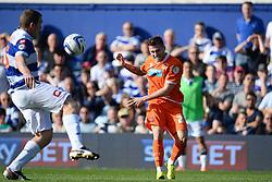 Blackpool's forward David Goodwillie takes a shot at goal - Photo mandatory by-line: Mitchell Gunn/JMP - Tel: Mobile: 07966 386802 29/03/2014 - SPORT - FOOTBALL - Loftus Road - London - Queens Park Rangers v Blackpool - Championship
