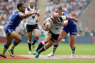 Hull's Danny Houghton is tracked by Warrington's Ryan Atkins and Ben Currie during the Challenge Cup Final 2016 match between Warrington Wolves and Hull FC at Wembley Stadium, London, England on 27 August 2016. Photo by Craig Galloway.