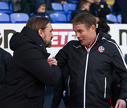 Norwich City manager Daniel Farke (L) and Bolton Wanderers manager Phil Parkinson - Mandatory by-line: Jack Phillips/JMP - 16/02/2019 - FOOTBALL - University of Bolton Stadium - Bolton, England - Bolton Wanderers v Norwich City - English Football League Championship