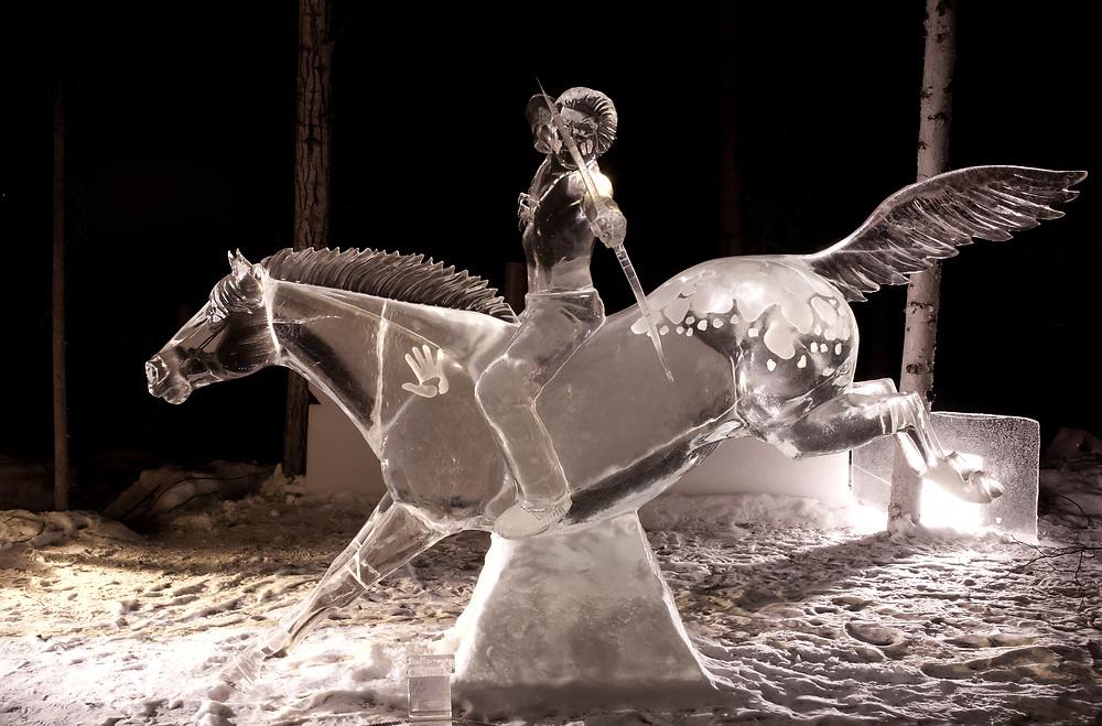 North America; United States; Alaska; Fairbanks; Ice Alaska; Carving;  Indian on Horse