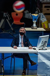 Technical jury member Jan Rinksma says goodbye to Nevobo during the cup final between Amysoft Lycurgus vs. Draisma Dynamo on April 18, 2021 in sports hall Alfa College in Groningen
