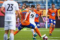 1. divisjon fotball 2018: Aalesund - Mjøndalen. Aalesunds Fredrik Carlsen (bak t.h.) reagerer i førstedivisjonskampen i fotball mellom Aalesund og Mjøndalen på Color Line Stadion.